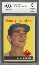 1958 topps #187 SANDY KOUFAX los angeles dodgers BGS BCCG 8