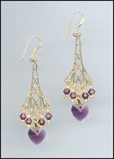 Sparkling Gold Earrings with Swarovski AMETHYST PURPLE Crystal Hearts