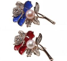 Fashion 11mm Natural Freshwater Pearl Flower-shaped Gold Plated  Brooch