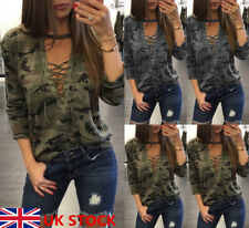 UK Womens Ladies Camouflage Print V Neck Lace Up Long Sleeve T Shirt Tops Blouse