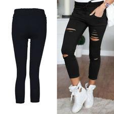 Ladies Pants Stretchy  Faded Ripped Slim Fit New Womens Skinny Leggings Trousers