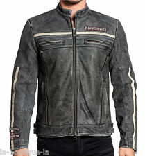 Affliction - BLACK MOON RIDERS - Men's Leather Biker Jacket MOTO - Vintage Black