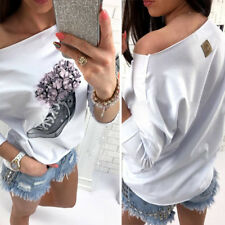 Fashion Womens Off Shoulder Floral Blouse Long Sleeve Loose Casual T-shirt Tops