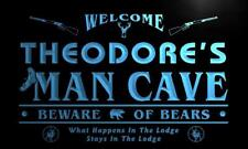 x0149-tm Theodore's Man Cave Hunting Lodge Custom Personalized Name Neon Sign