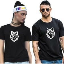 Unisex Wolf Tee T Shirt Short Sleeve Round Neck Lovers Couple Clothes Creative