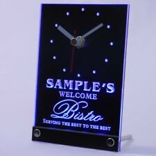 tncpt-tm Bistro Welcome Personalized Beer Home Bar Decor Neon Led Table Clock