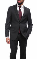 Mens Classic Fit Solid Charcoal Gray Two Button Super 140's Wool Suit