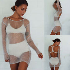 Evening Party Cocktail Short Mini Dress Long Sleeve Backless Sexy Clubwear
