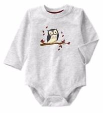 Gymboree Hoot & Hop Owl One-Piece Top Bodysuit Gray Branch Leaves NWT