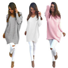 New Womens Ladies Loose Tops Pullover Thin Sweater V-neck Long Sleeve