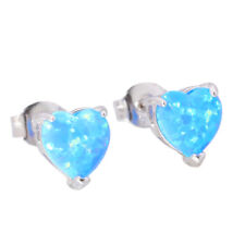 Blue White Fire Opal 925 Sterling Silver Women Jewelry Stud Earrings SE016-17