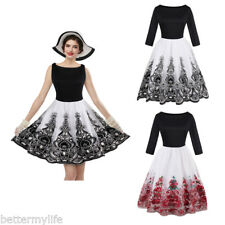 Zaful 50s Women vintage dress pin-up sashes party dresses vintage Swing dresses