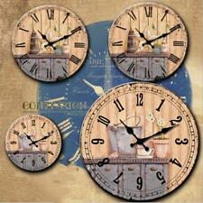 14inch Home Decor Round Retro Style Wall Mounted Clock Wooden Home Decor NEW