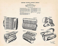 1938 Patent Accordion Designed for Hohner Gift Vasson Drawing Art Print Poster