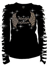 Bling Bling Marilyn Monroe & Angel Wings RHINESTONE T-Shirt Ripped Cut Out S~3X