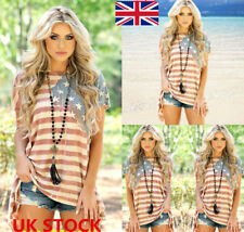 UK Womens American Flag Stars Striped Print Short Sleeve T Shirt Dress Tops 8-26