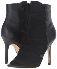 SAM EDELMAN ASHER Black Leather Ankle Boots Suede Leather Lace Up Peep Toe NEW