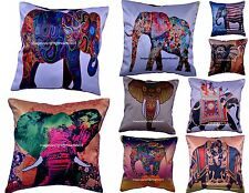 Indian Silk Blended 16 X 16 Elephant Cushion Cover Ethnic Handmade Pillow Decor
