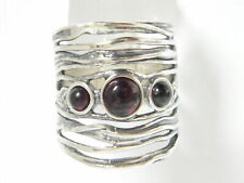 NEW SHABLOOL 925 Sterling Silver bordaux natural Garnet Three-Stone Ring
