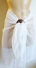 WHITE CROCHET LONG BEACH SARONG PAREO WRAP WITH FREE COCONUT SHELL BUCKLE