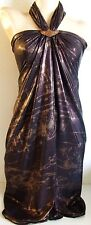 BROWN GOLD SHIMMER LARGE BEACH SARONG PAREO WRAP WITH FREE COCONUT SHELL BUCKLE