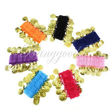 one Pair Belly Dance Bollywood Dancing Coin Wrist Ankle Arm Bracelet Cuff Match