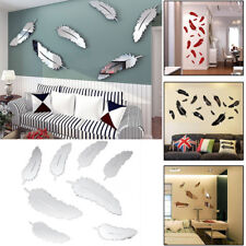 8pcs/set Feather Acrylic 3D Mirror Wall Sticker Mural Decal Removable Home Decor