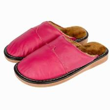 Comfy Womens Indoor Slippers Slip On Flats Cow Leather Close Toe House Shoes