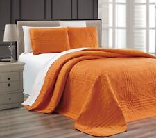 Twin XL Full Queen Cal King Bed Solid Orange 3 pc Quilt Set Coverlet Bedspread