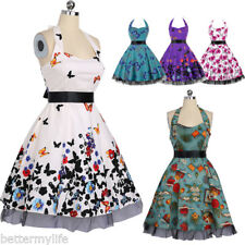 Women Swing Party Prom Dress Halter Sweetheart 50s Dress Butterfly Vintage Dress