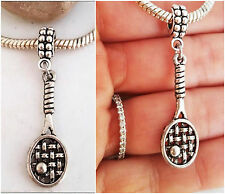 Tennis Racket Ball Tennis charm pendant for fit European Bracelet necklace
