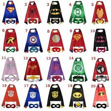 Superhero Cape Mask Superman Batman Spiderman^Supergirl&Batgirl Hulk for kids