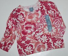 baby Gap NWT Girls Pink Coral Floral Cotton Cardigan Sweater Jacket