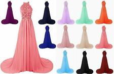 Halter Lace Prom Dress Bridesmaid Formal Gown Ball Party Cocktail Evening Stock0