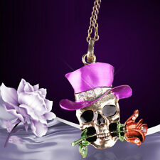 Unisex Jewelry Halloween Party Skull Flower Pendant Chain Necklace Gift Sanwood
