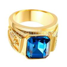 Punk Style Unisex Personality Dragon Totem Gorgeous Blue Rhinestone Gold Ring