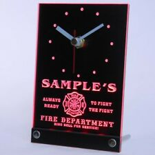 tncqy-tm Personalized Custom Firefighter Fire Department Neon Led Table Clock