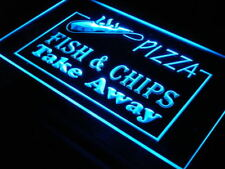 i138-b OPEN Pizza Fish Chips Displays Neon Light Sign