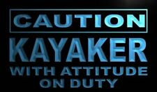 m592-b Caution Kayaker with Attitude on Duty Neon Sign