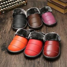 Waterproof Winter Warm Indoor Thick Shoes for Women Cow Leather Furry Slippers H