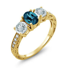 1.82 Ct London Blue Topaz Sky Blue Aquamarine 18K Yellow Gold Plated Silver Ring