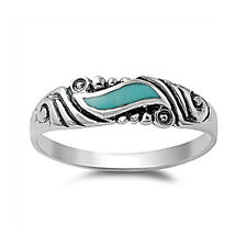 Women 5mm 925 Sterling Silver Turquoise Vintage Antique Wedding Ring Band