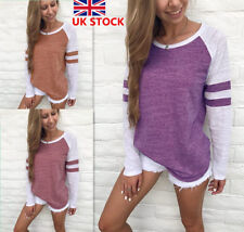 Womens Ladies Raglan Long Sleeve Color Blocking Striped T-Shirt Tops Blouse Size