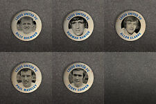 LEEDS UNITED FC 60s RETRO STYLE BUTTON PIN BADGES BREMNER HUNTER CLARKE ETC