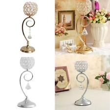 35cm Globe Pillar Crystal Tea Light Candle Holder Ornament Wedding Silver/Golden