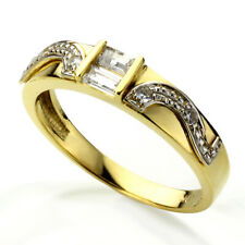 Men 14K White and Yellow Gold Baguette CZ Horse Shoe Design Wedding Band Ring