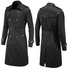Men Double Breasted Long Trench Coat Slim Trench coat Jacket Male Cool Coat New