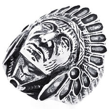 Men Fashion 30MM Stainless Steel Indian Chief Head Ring For Men