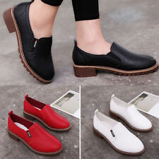 Women Round Toe Faux Leather Flat Shoes Solid Color Slip-on Shoes Creative