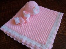 Knit/Crochet Personalized Baby Blanket, Hat and Booties (light pink 35x35)